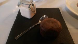 chocolate fondant with sweet strawberry parfait ice cream