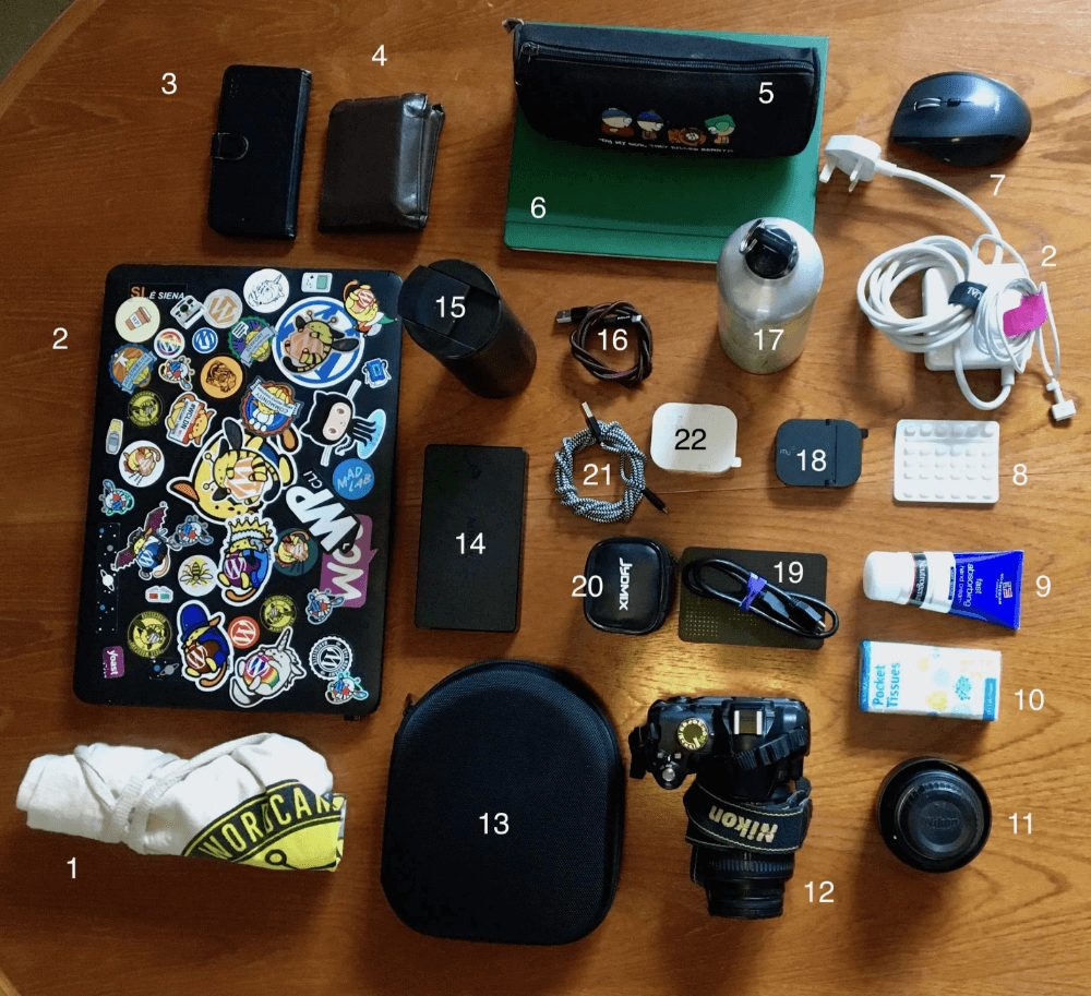 Picture of everything I carry in my bag when I work in Co-working spaces